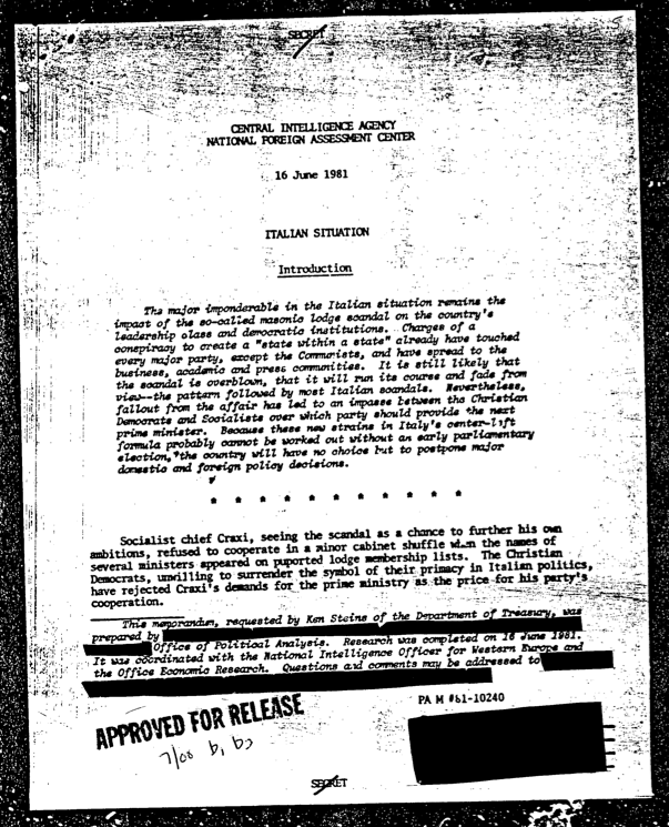 Dagli archivi CIA - Freedom of Information Act