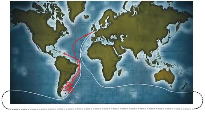 In bianco il percorso della regata, in rosso la rotta (approssimata) di Crowhurst